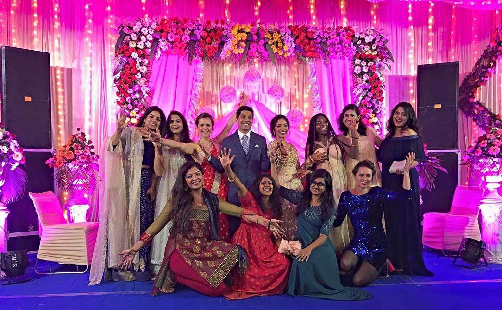 Indian wedding reception friends