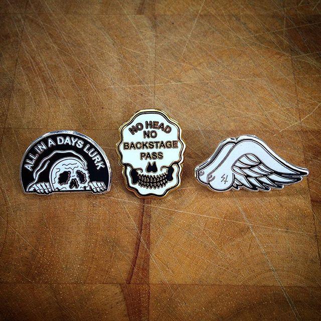 Three lapel pins designed by Sketchy Tank ( SketchyTank.com )