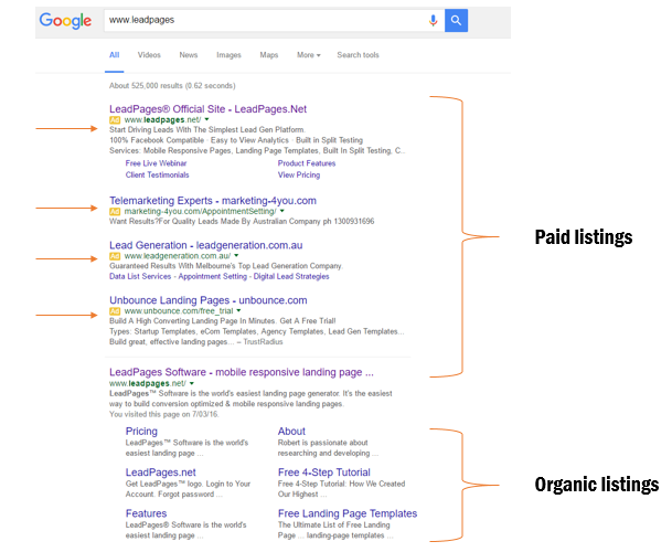 search elements on a google search results page