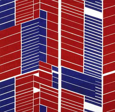 - Echantillon d'ameublement « Fecamp »,France, Boulogne sur Mer, Tissage au Moderne, collection Carlos Leprêtre, dessinatrice Josette Faivre, 1974Toile de lin imprimée au cadre