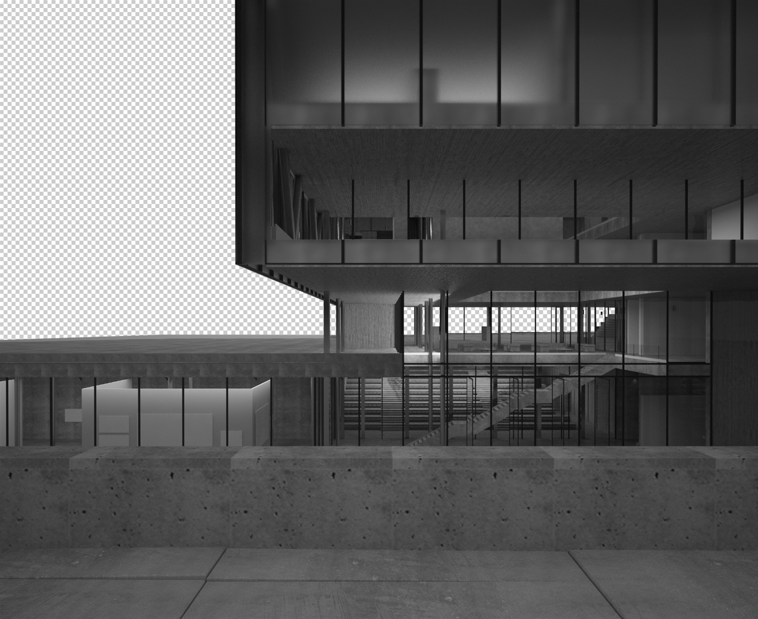 The base render in black and white. The colours disappear and you don't get caught by unrealistic colours, and details anymore.