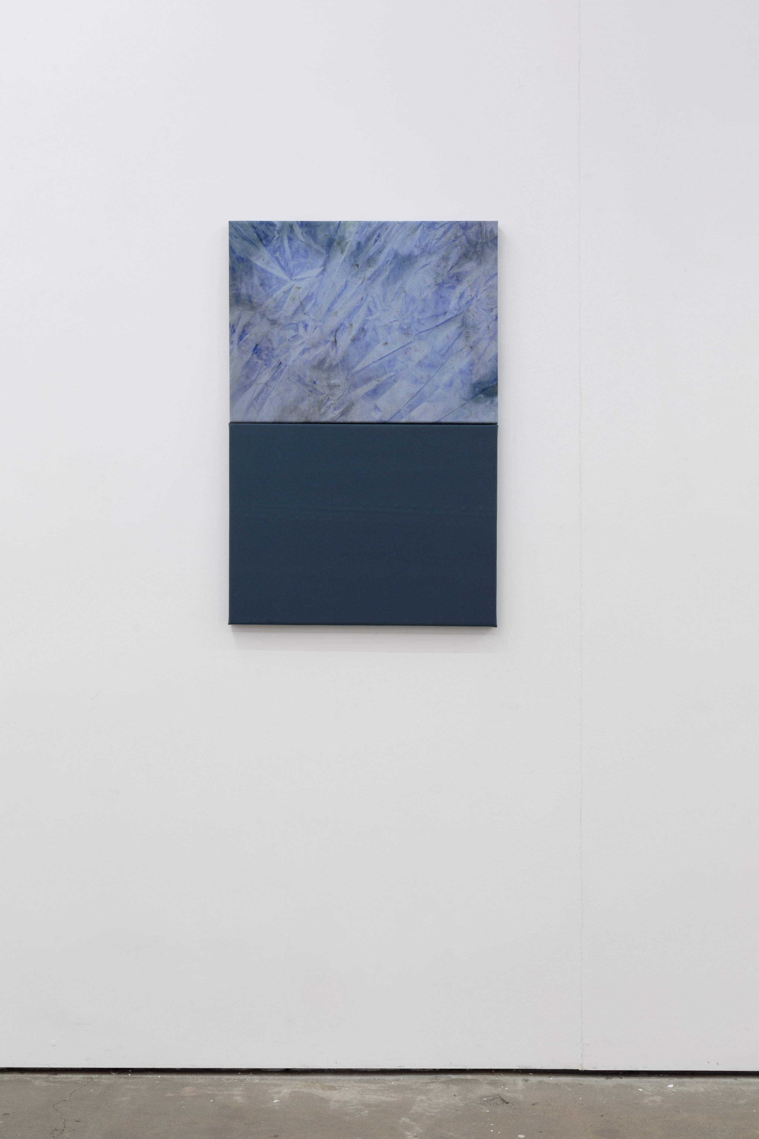 "Blue 2019 Acrylic on knitted polyester and canvas, 90cm H x 60cm W 24"" x 36"""