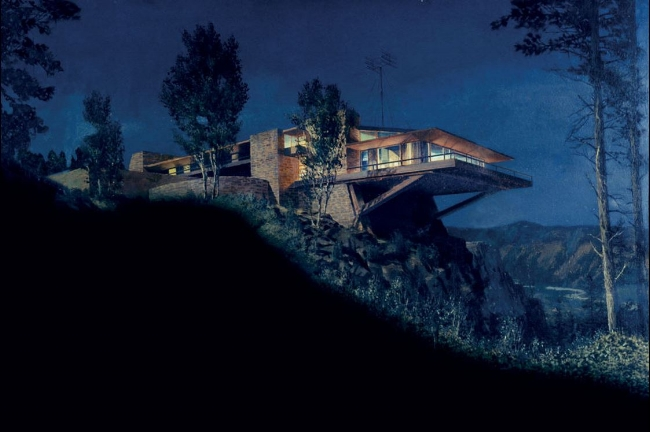 A matte painting by artist Matthew Yuricich from North by Northwest 1959