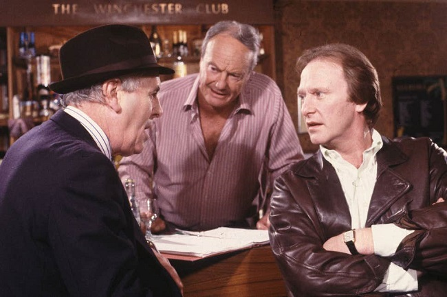 """Minder. A popular UK TV show from the 80s. Some of the slang may be impenetrable to international viewers. """"I've got dodgy plates, Tel. Had'em since I was a saucepan""""."""