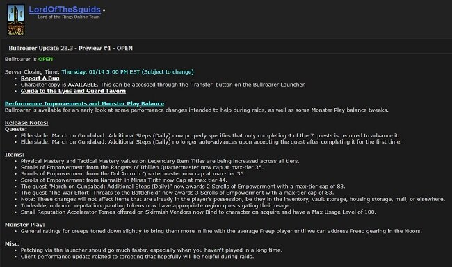 LOTRO: Proposed Changes to Scrolls of Empowerment in Update 28.3