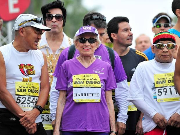 """At 92 Harriette Thompson has become the oldest woman to complete a marathon (Getty)   """"I'm fine,"""" Thompson said. """"They're really pampering me here."""""""