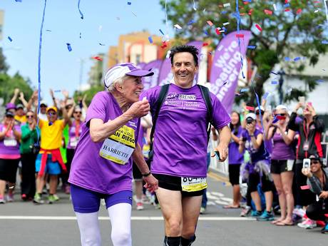 Thompson finished her 16th marathon in just over 7 hours and 24 minutes (Getty)   Her husband died in January following a lingering illness and Thompson herself battled a staph infection in one of her legs.