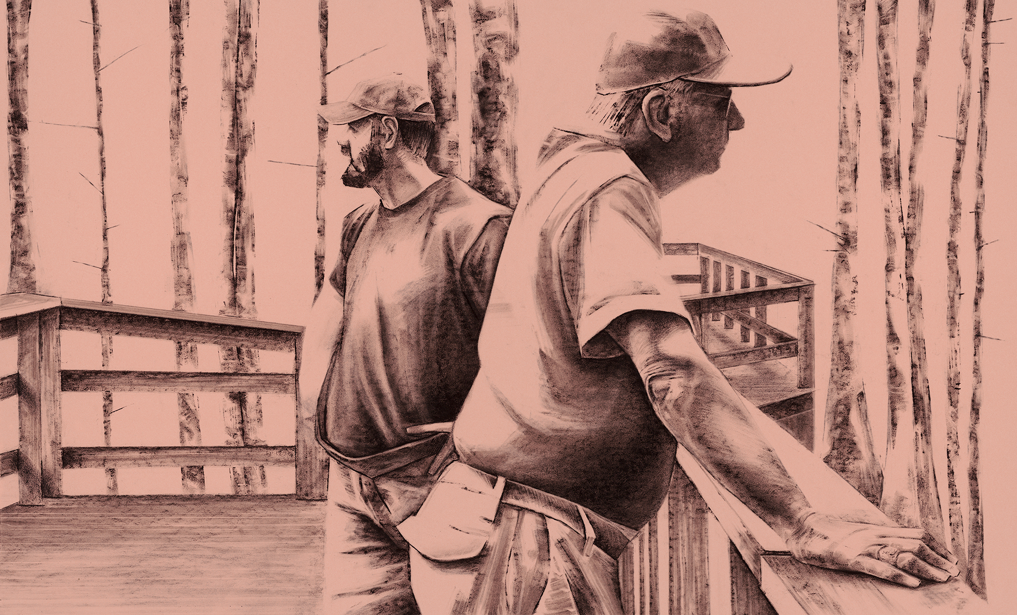 """Daybreak , 40""""x25"""", Charcoal on Paper, 2017 Copyright Mack Gingles, 2019"""