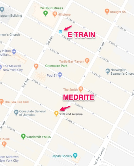 MEDRITE URGENT CARE - 919 2nd Ave, New York, NY 10017(Phone) 212-935-3333(near 49th Street, take E train to Lexington Ave./53rd Street)Office HoursMon – Fri: 8:00AM – 10:00PMSat & Sun: 9:00AM – 7:00PMNO APPOINTMENT NEEDED