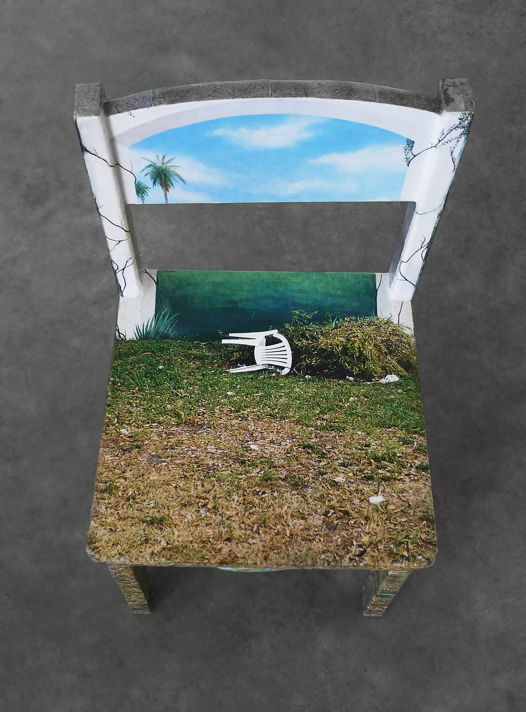 "Chair Mural II , detail, 2014, archival inkjet print, glue, wood chair, inflatable globe, 11""x 11.5""x 21"" (28 cm x 29.2 cm x 53.3 cm)"