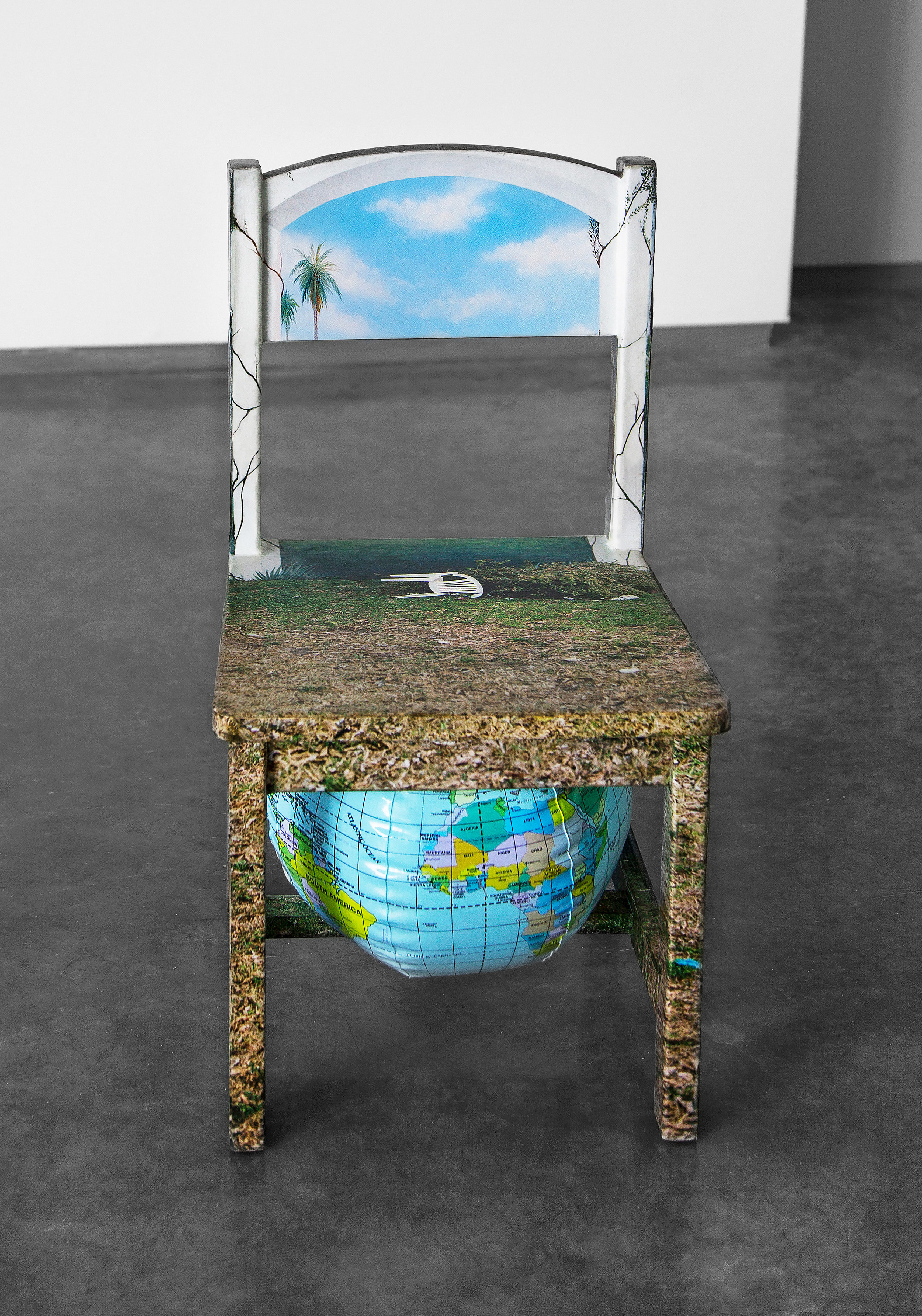 "Chair Mural II , 2014, archival inkjet print, glue, wood chair, inflatable globe, 11""x 11.5""x 21"" (28 cm x 29.2 cm x 53.3 cm)"