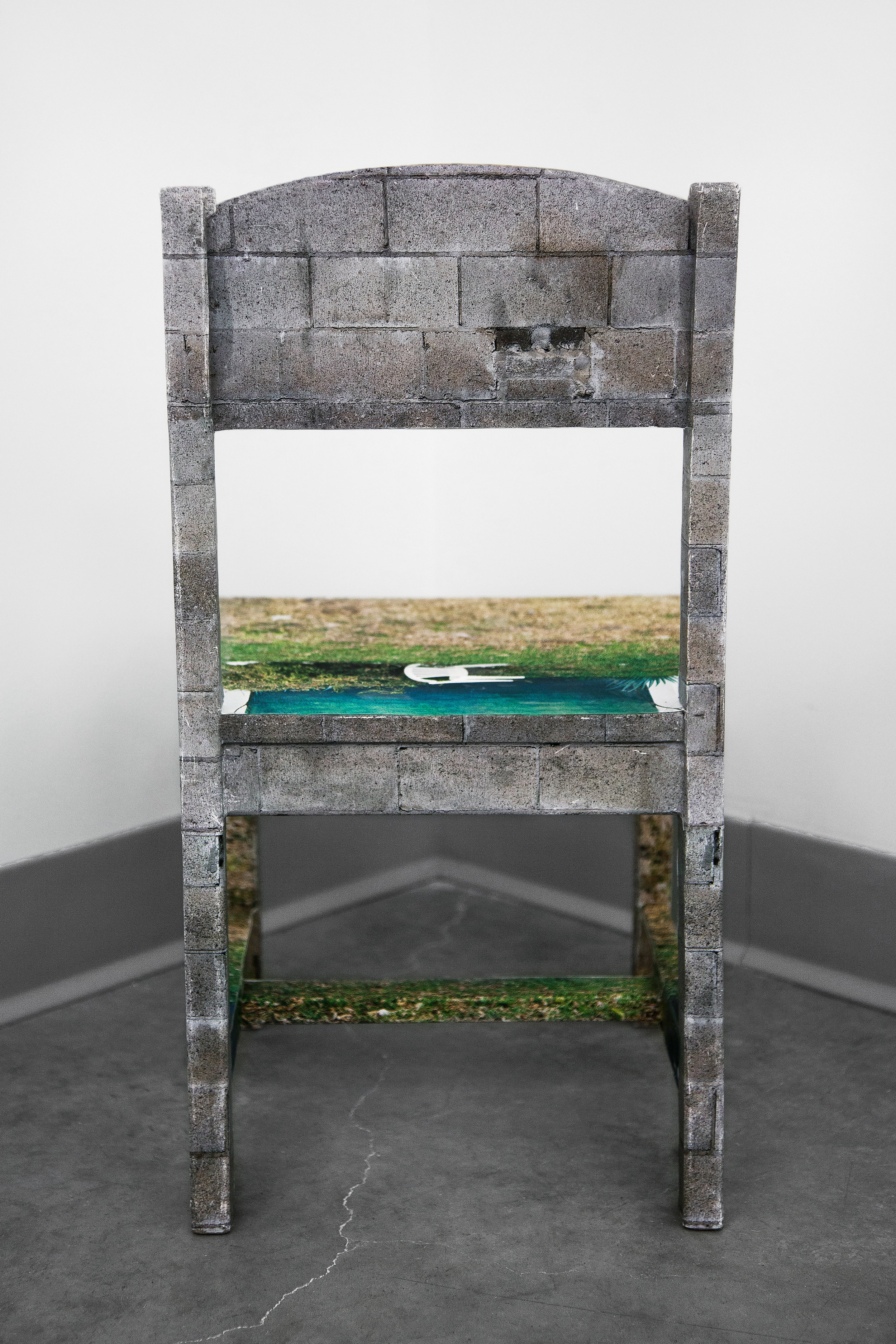 """Chair Mural II , back view, 2014, archival inkjet print, glue, wood chair (inflatable globe not pictured), 11""""x 11.5""""x 21"""" (28 cm x 29.2 cm x 53.3 cm)"""