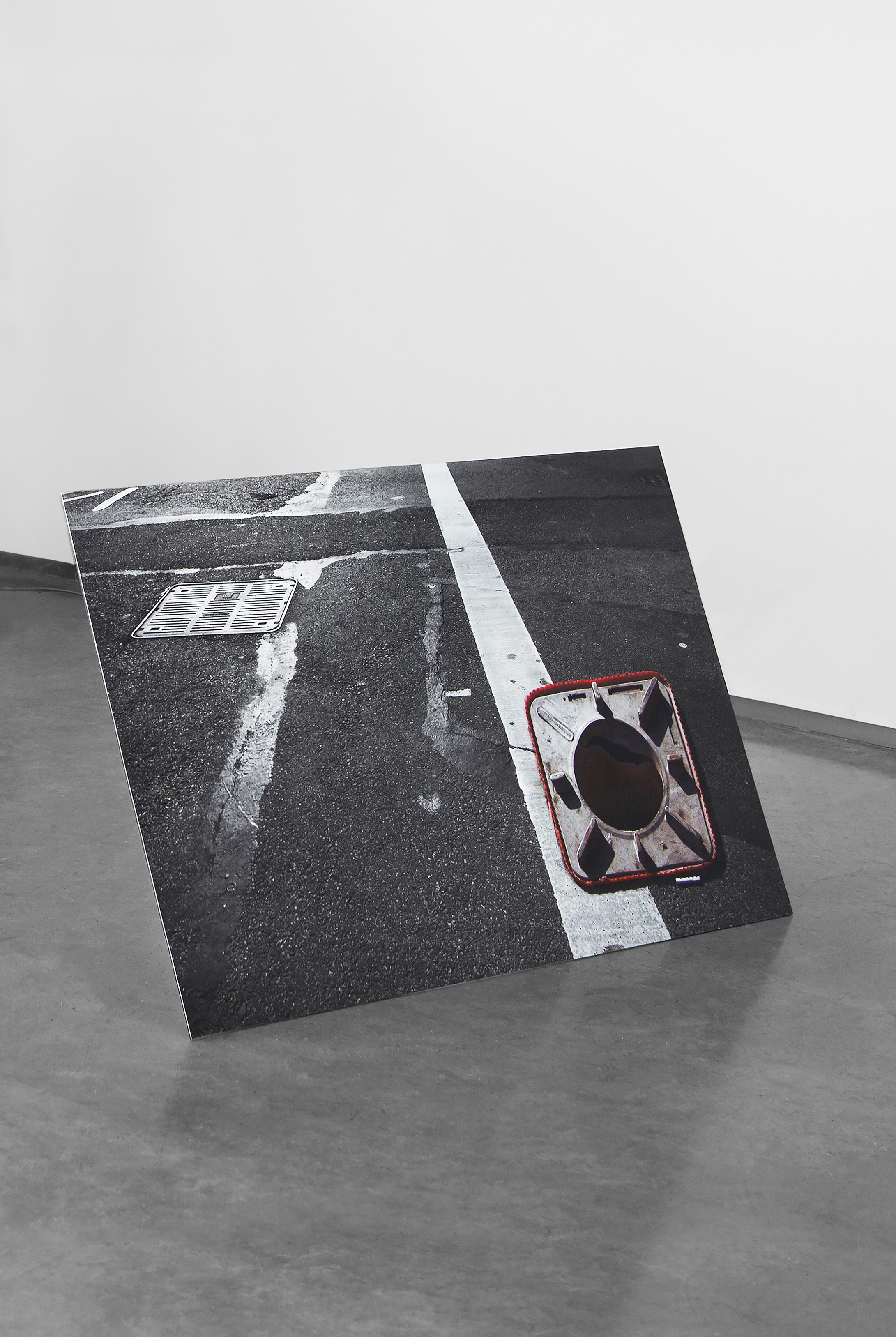 "Traffic Cone , 2014, archival inkjet print on dibond, foam sealant, traffic cone, 26""x 40""x 60"" (66 cm x 101.6 cm x 152.4 cm)"