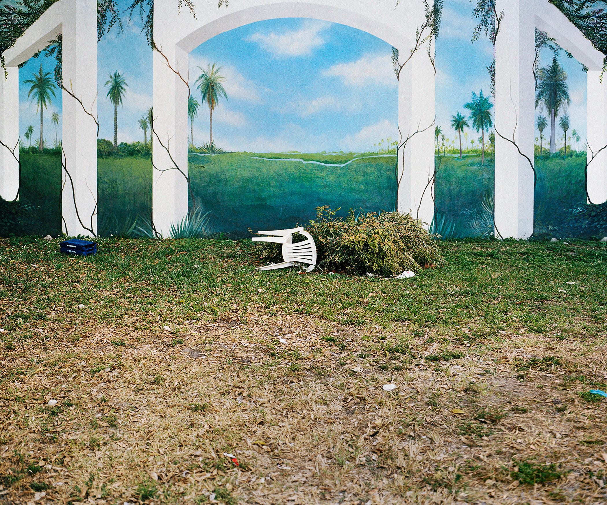 "Chair Mural , 2014, archival inkjet print (photograph taken in Miami, Florida, 2009), 20""x 24"" (50.8 cm x 61 cm)"