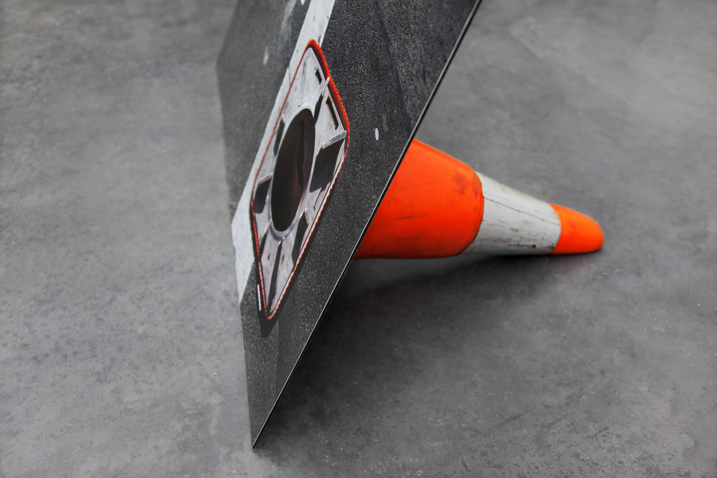 "Traffic Cone , detail, 2014, archival inkjet print on dibond, foam sealant, traffic cone, 26""x 40""x 60"" (66 cm x 101.6 cm x 152.4 cm)"