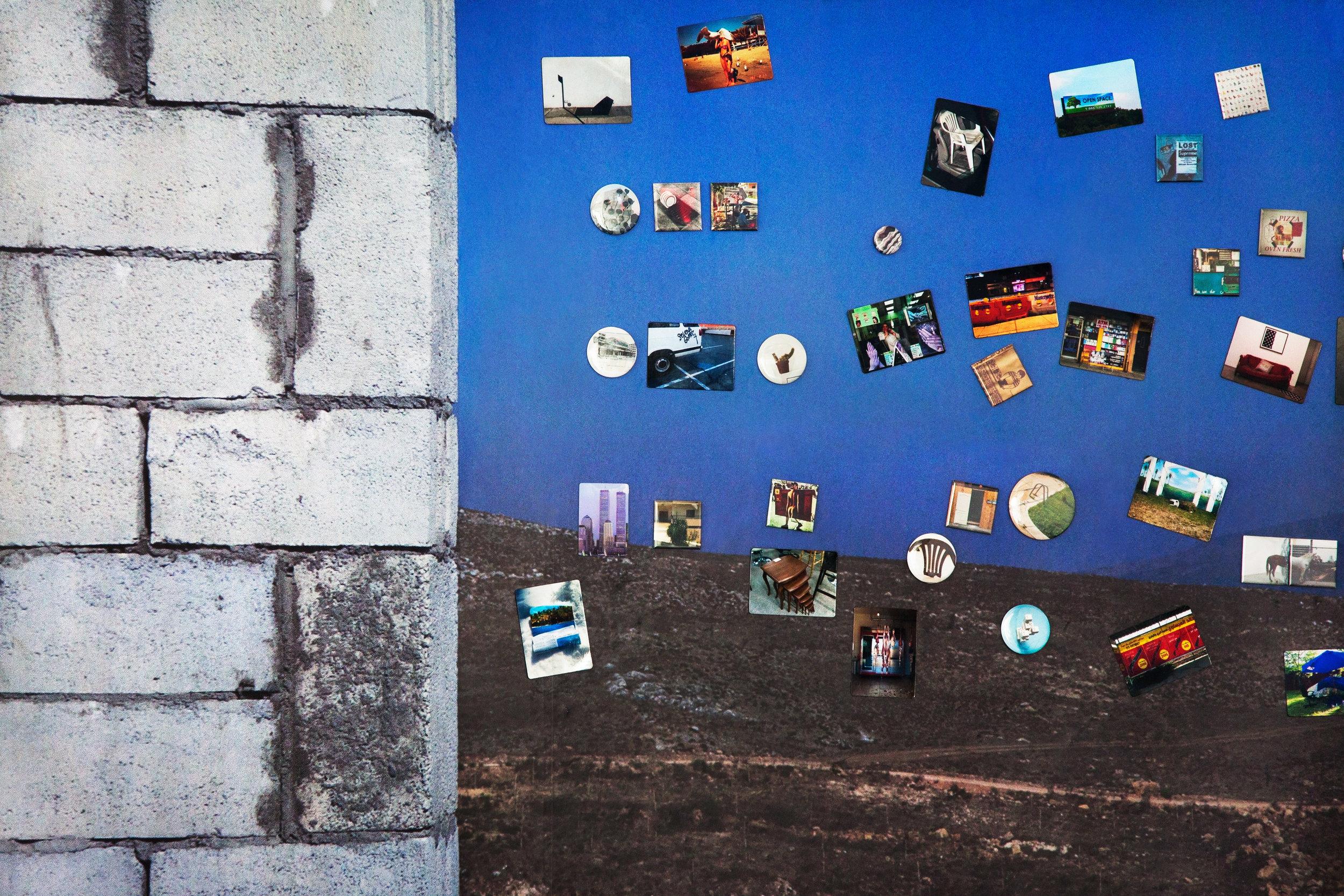 "Wallpaper  ,  detail,   2014, magnetic primer, vinyl wallpaper, photo magnets, ethernet cord, 96""x 144"" (243.8 cm x 365.8 cm)"