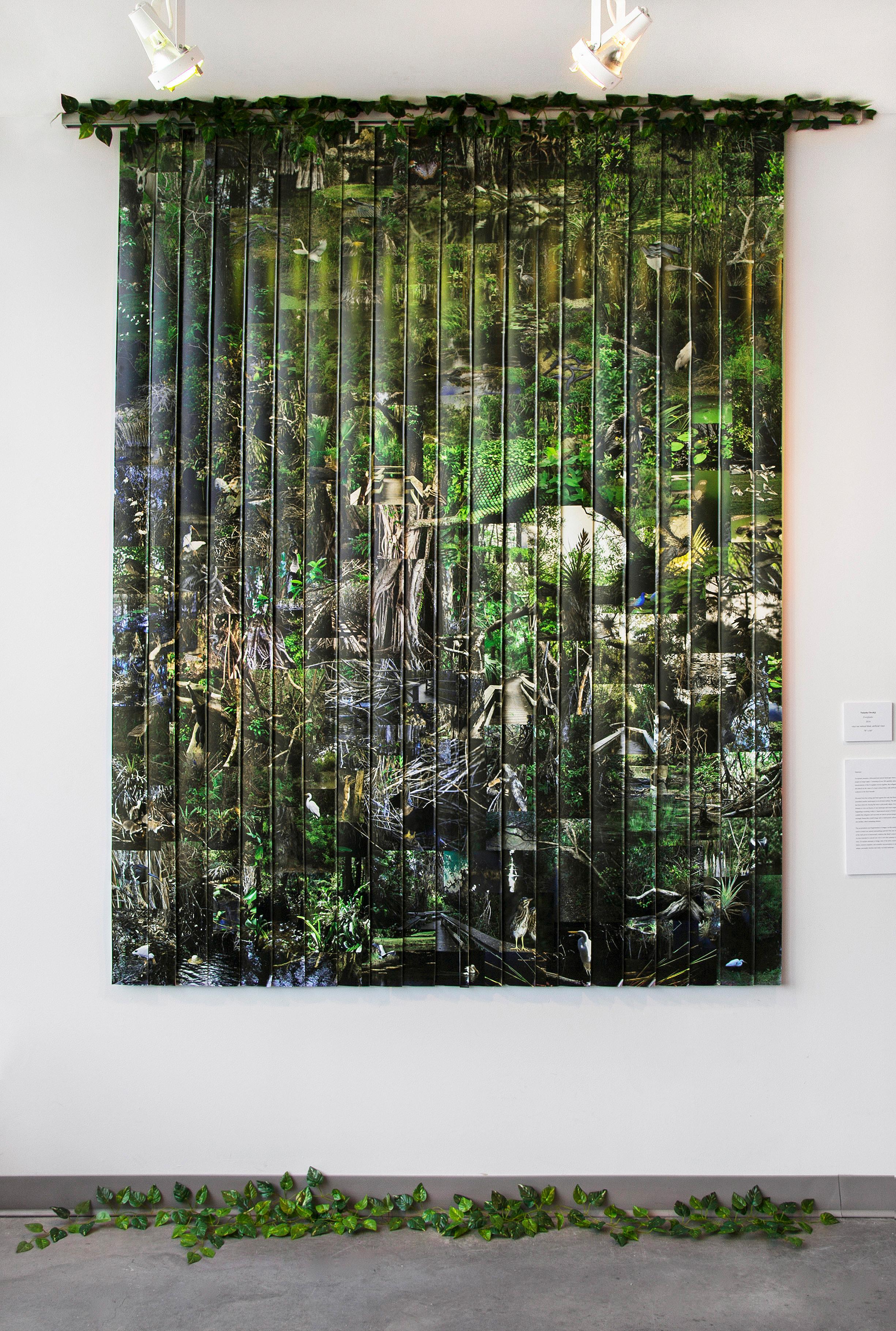 "Everglades , 2014, vinyl wallpaper, vertical blind, artificial vines, 78""x 84""(198.1 cm x 213.4 cm)"
