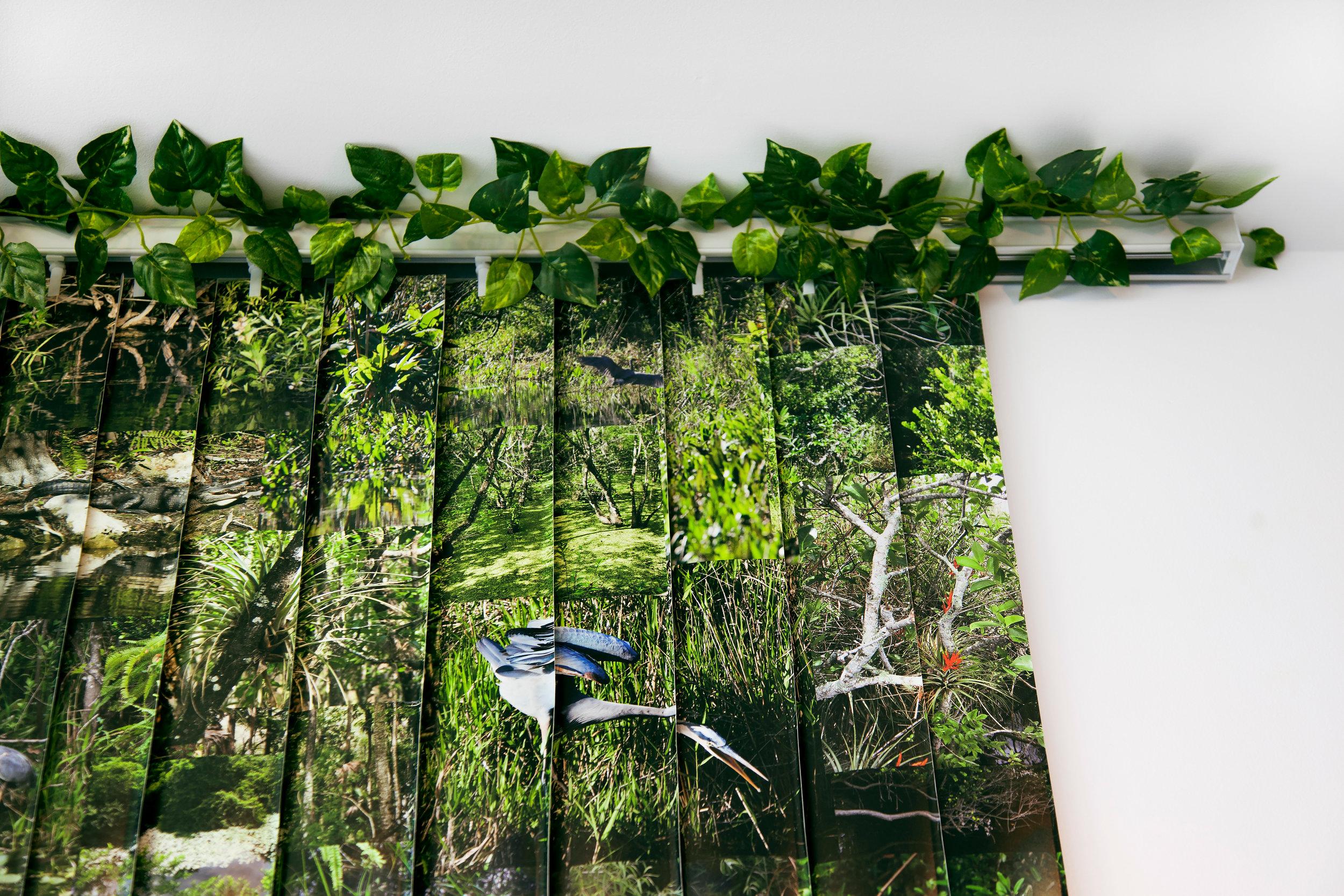 "Everglades , detail, 2014, vinyl wallpaper, vertical blind, artificial vines, 78""x 84"" (198.1 cm x 213.4 cm)"