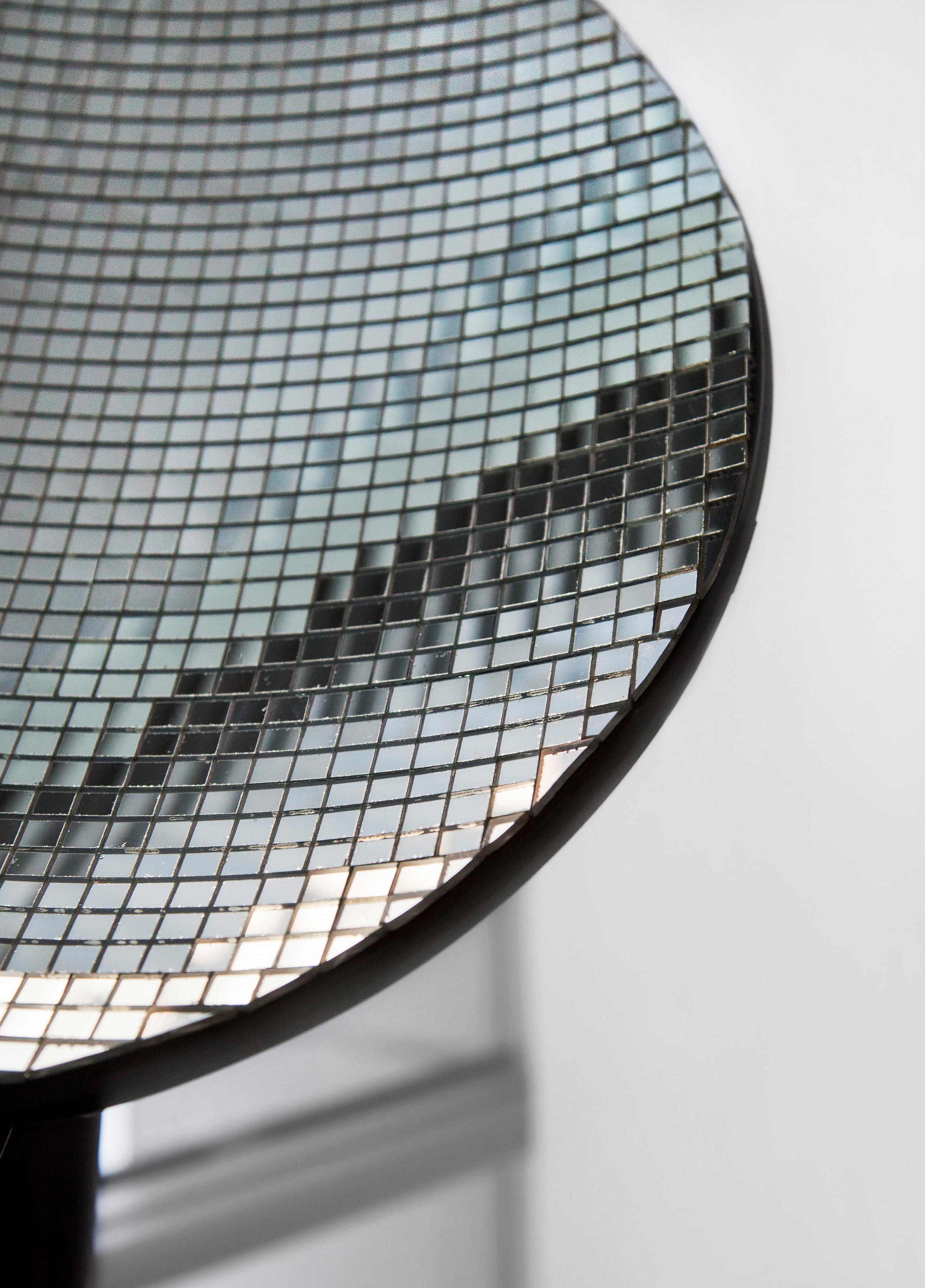 "Reflector , detail, 2014, satellite dish, glue, glass mirror tiles, 18""x 20"" (45.7 cm x 50.8 cm)"