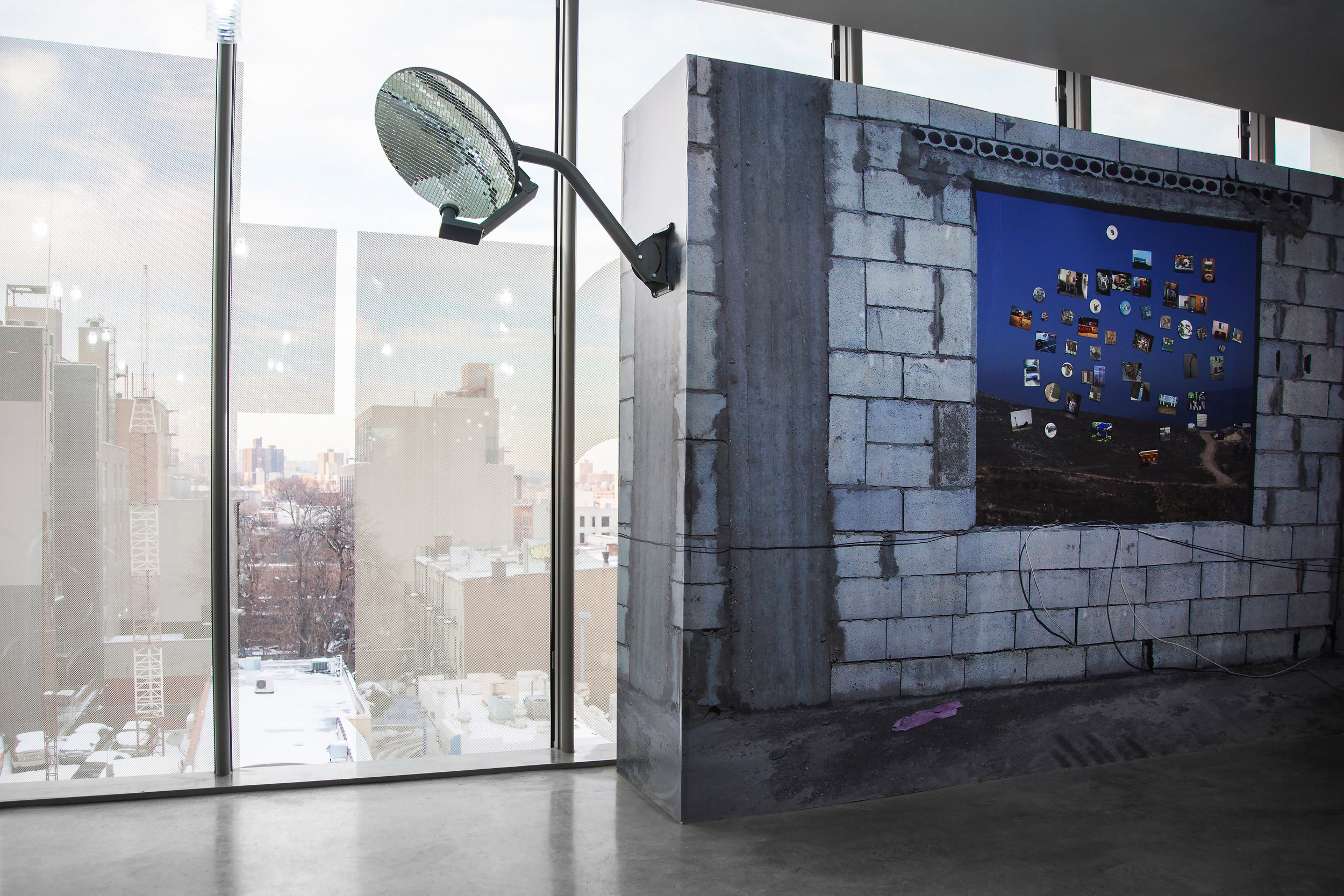 "Wallpaper , 2014 and  Reflector , 2014, satellite dish, glue, glass mirror tiles, 18""x 20"" (45.7 cm x 50.8 cm)"