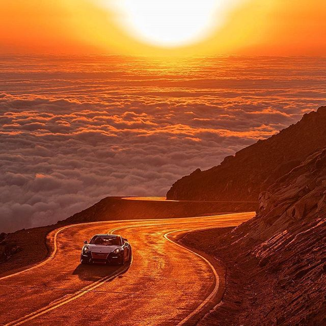 Repost from @drewphillipsphoto I know @cjwilsonphoto dabbles in photography, so he must have known to time his run perfectly with the sunrise #pikespeak #pikespeakhillclimb #ppihc #ppihc2018 #cjwilson #cjwilsonracing #porsche #porschecayman