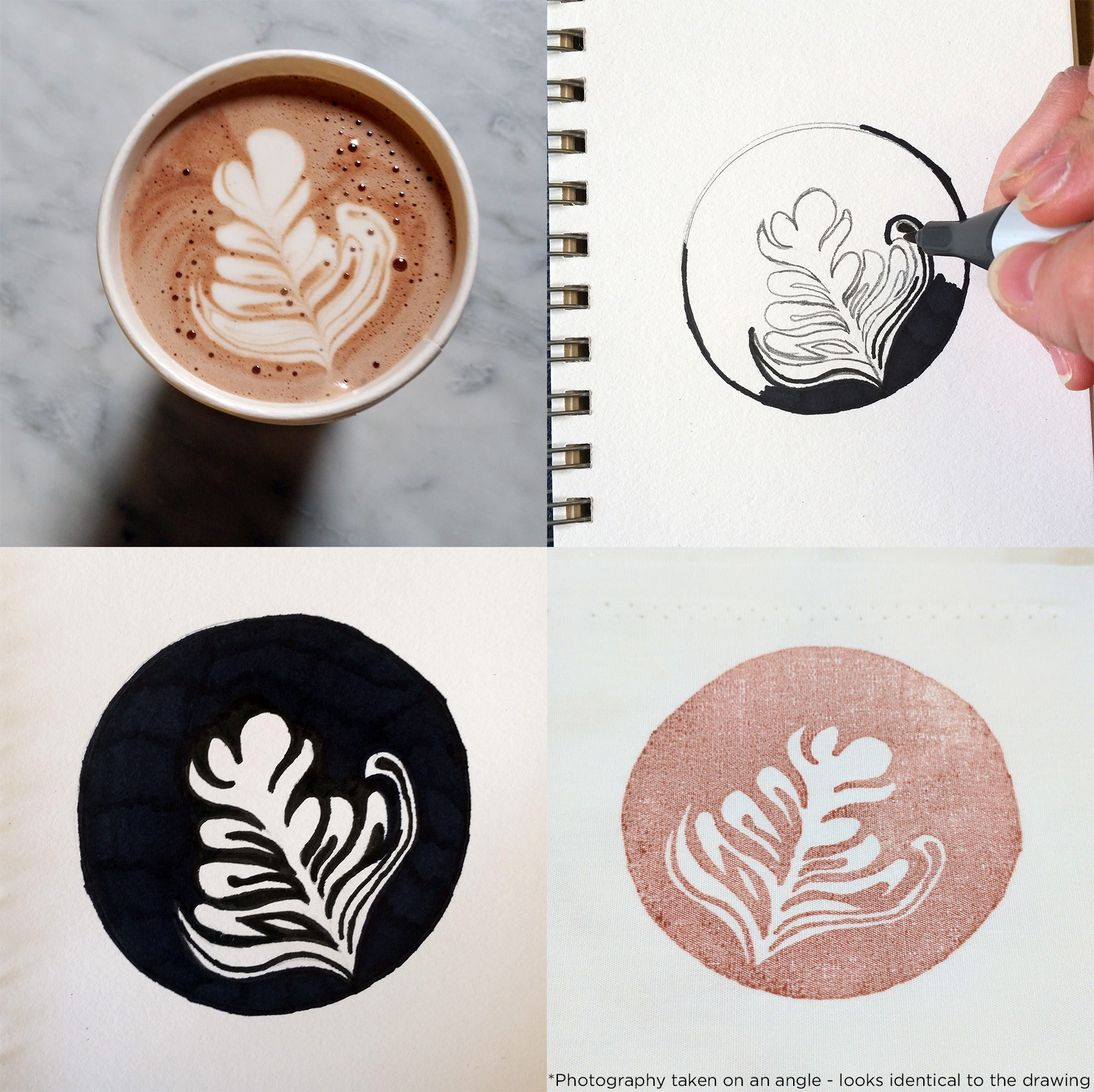 Latte art - how a warm beverage turned into a sketch in my notebook, a rubber stamp, and ultimately a hand-stamped scarf