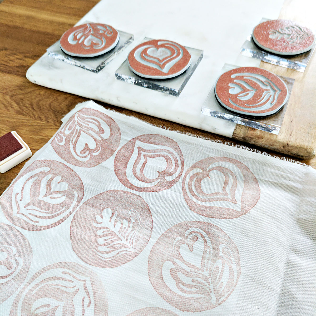 Work-in-progress shot of our Latte Art hand-stamped blanket scarf