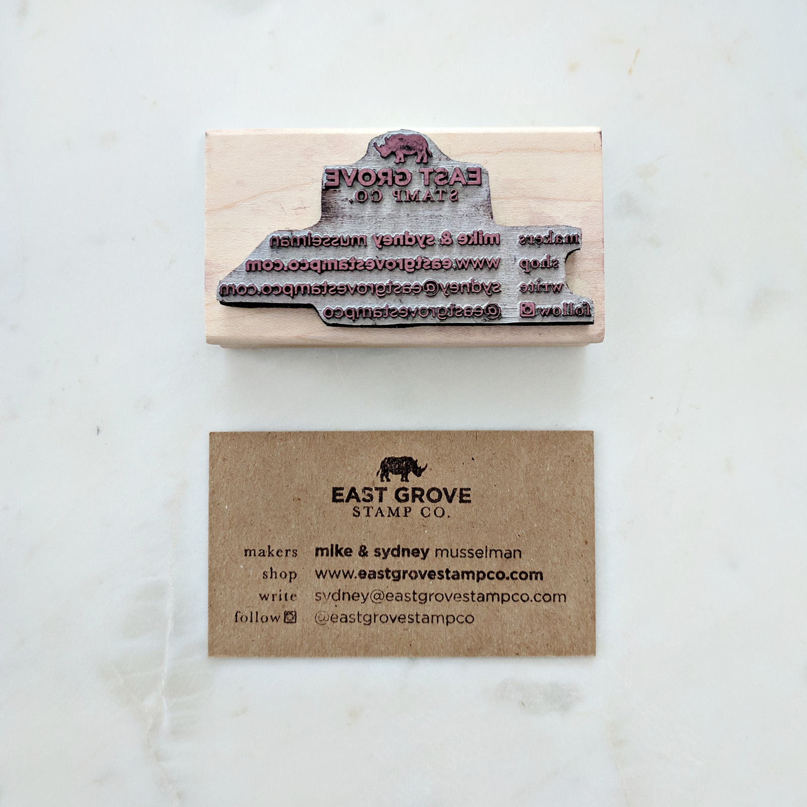 Business Cards - A stamp of your business card is incredibly handy for always having cards on-hand. We cut up extra card stock and chipboard to stamp our business card design onto.