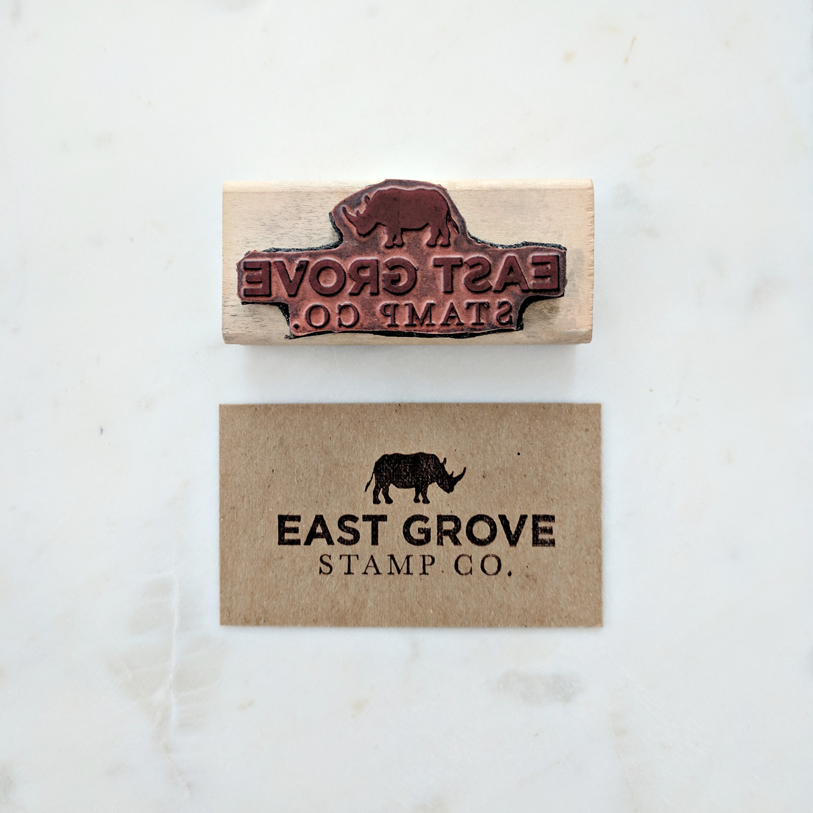 Back of the business card - While we don't actually use our smaller logo stamp for this purpose, I wanted to show how you can achieve a double-sided card.