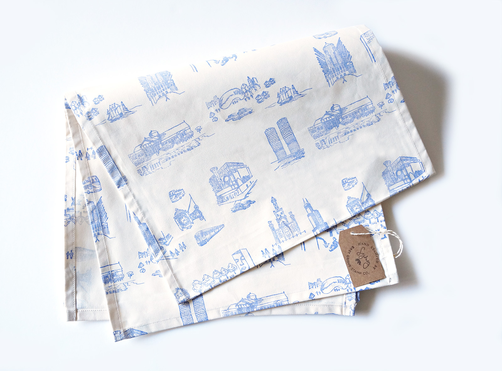 Urban Toile Hand-Stamped Table Runner