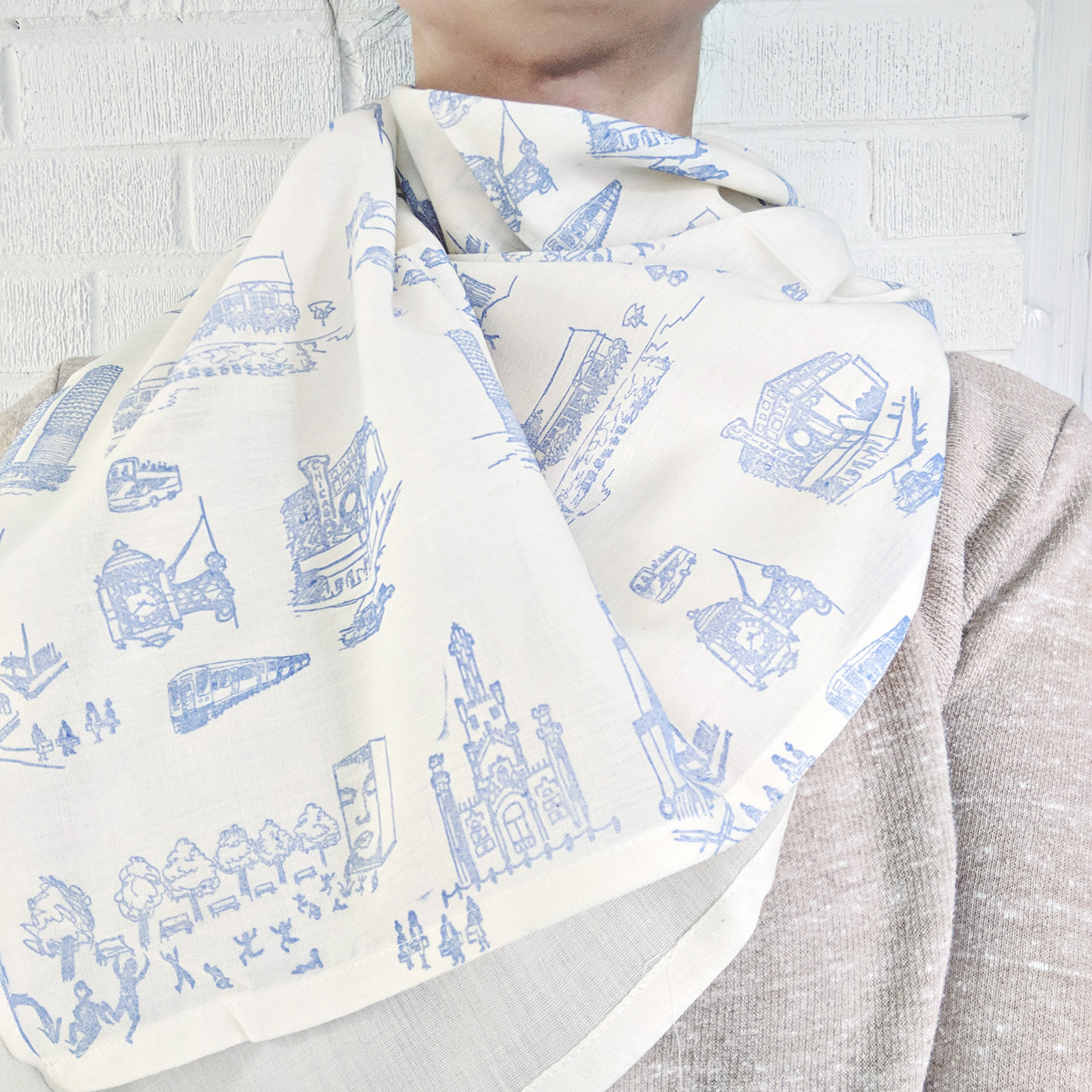 Urban Toile Hand-Stamped Blanket Scarf