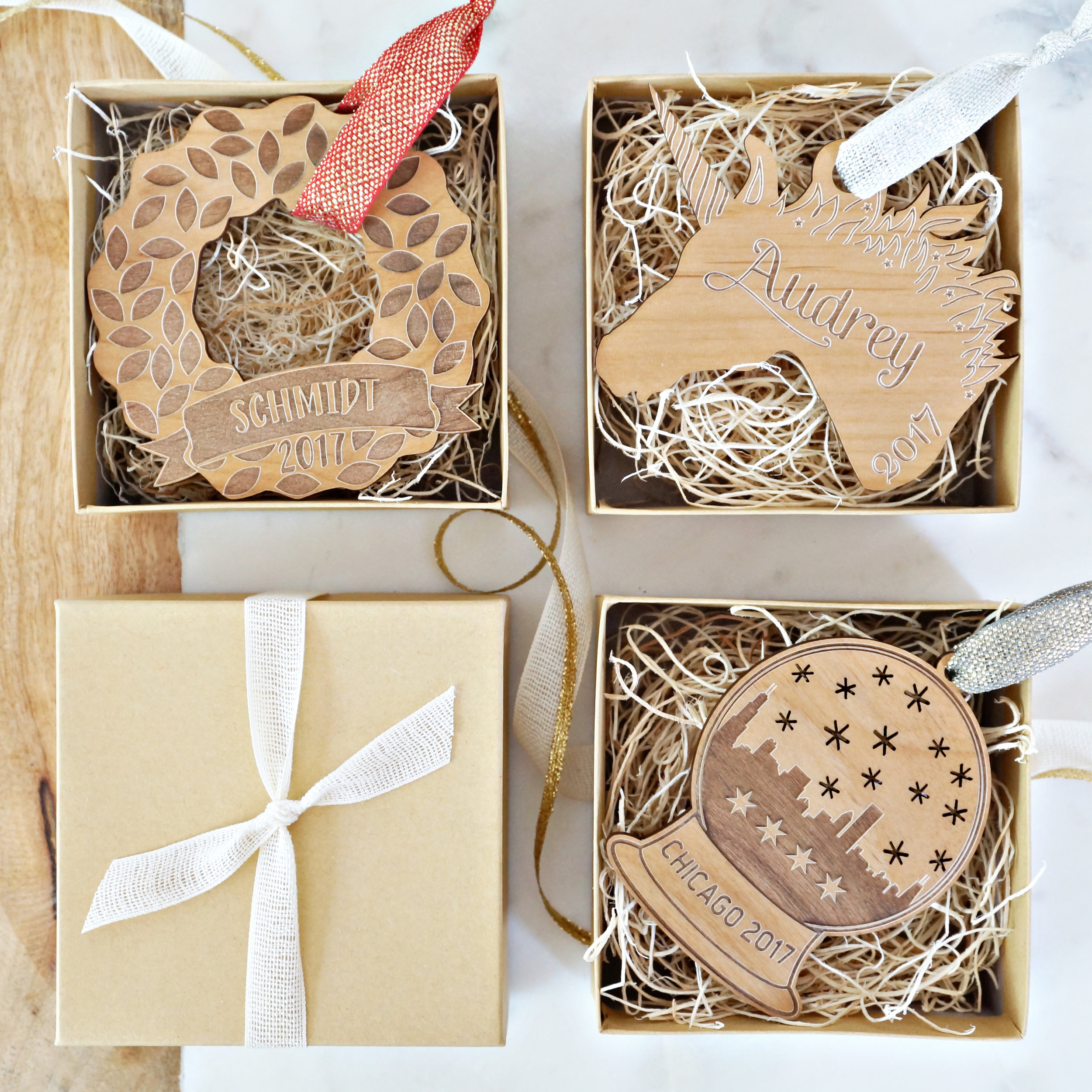 Personalized laser-cut Christmas Ornaments