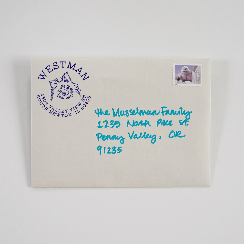 Our bestselling  dog address stamps  add a touch of whimsy to the outside of any envelope.
