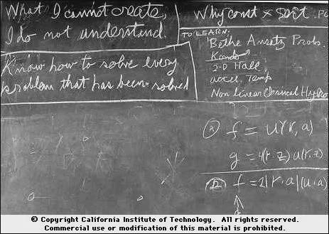 Richard Feynman's blackboard at the time of his death.