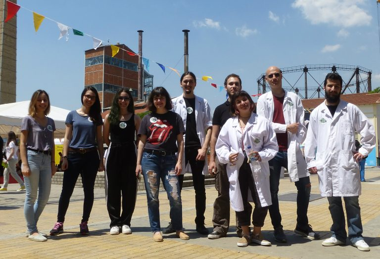 iGEM Athens 2018 team. From left to right: Elena, Nelly, Maria, Natalia, Stelios, Yannis, Leda, Panos and Vasilis.
