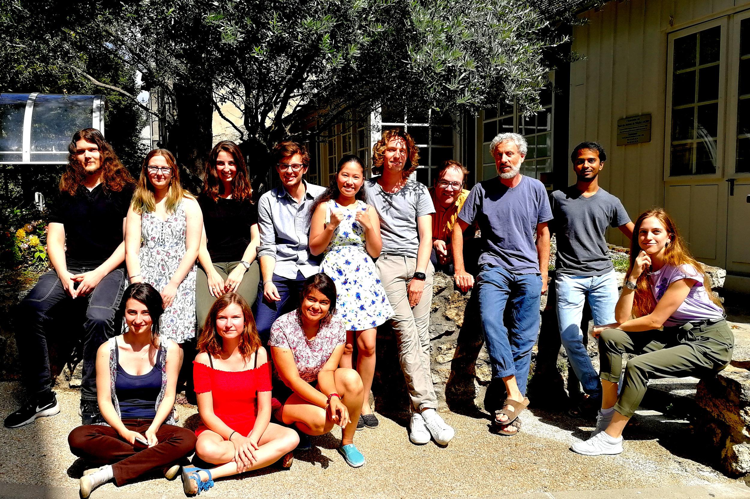 iGEM Paris Bettencourt Team (2018) group photo. Left to right: Maksim Baković, Juliette Delahaye, Annissa Améziane, Santino Nanini, Elisa Sia (Team leader), Antoine Levrier, Jake Wintermute (Secondary P.I.), Ariel Lindner (Primary P.I.), Darshak Bhatt (Team leader), Oleksandra Sorokina (Advisor). Bottom row: Anastasia Croitoru, Camille Lambert, Naina Goel. Missing from the photo are Shubham Sahu, Alexis Casas, Haotian Guo (Mentor), Ana Santos (Mentor), and Gayetri Ramachandran (Mentor)