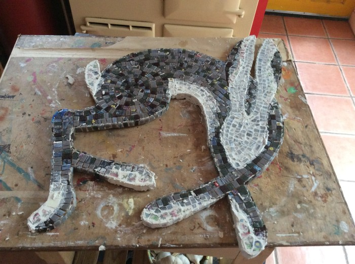 Grouting the Sleeping Hare Mosaic