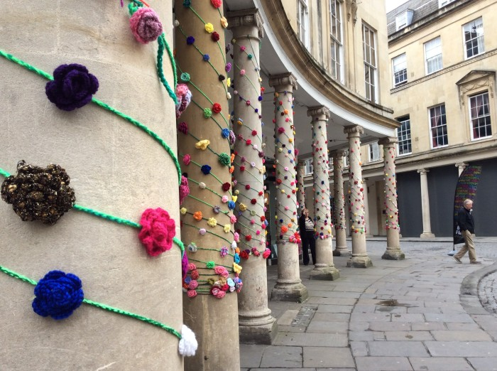 Rose Yarn Bomb Bath in Fashion 2014 and Kids Company made possible by crochet and mosaic artist Emma Leith
