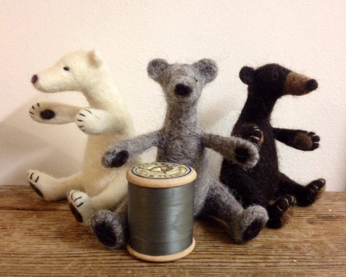 a white, grey and brown needle felted bears