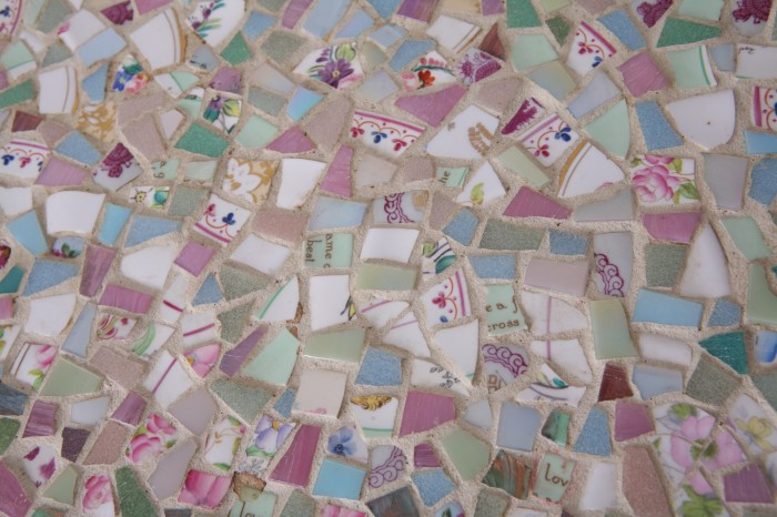 vintage china and mosaic tiles