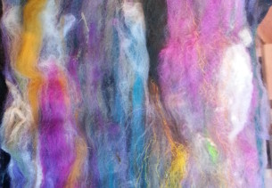 Close up of carded wool batt ready for spinning