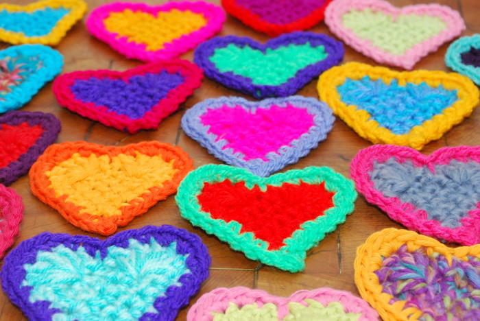 Crochet hearts all laid out flat