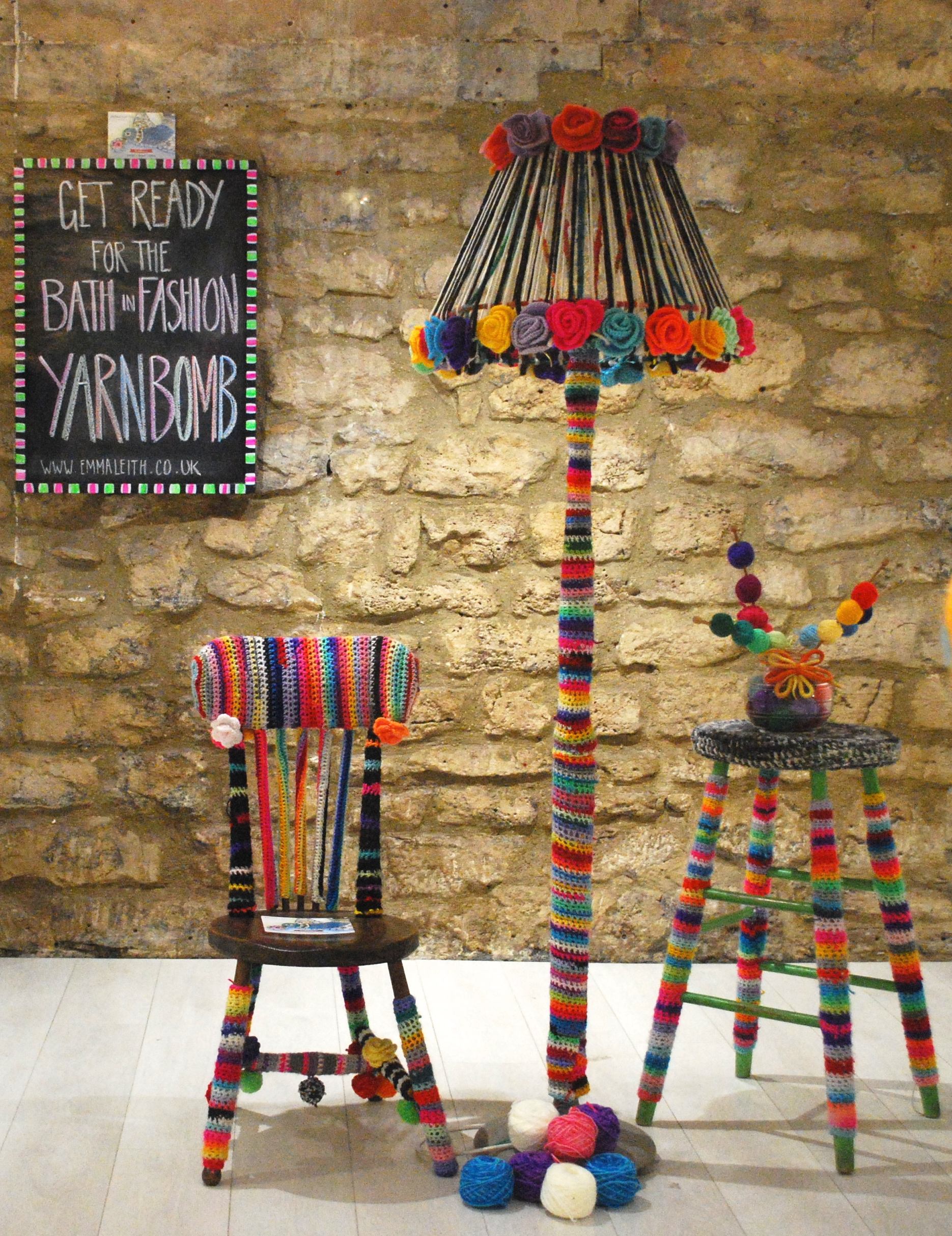 Lampshade, stand and stool yarnbombs