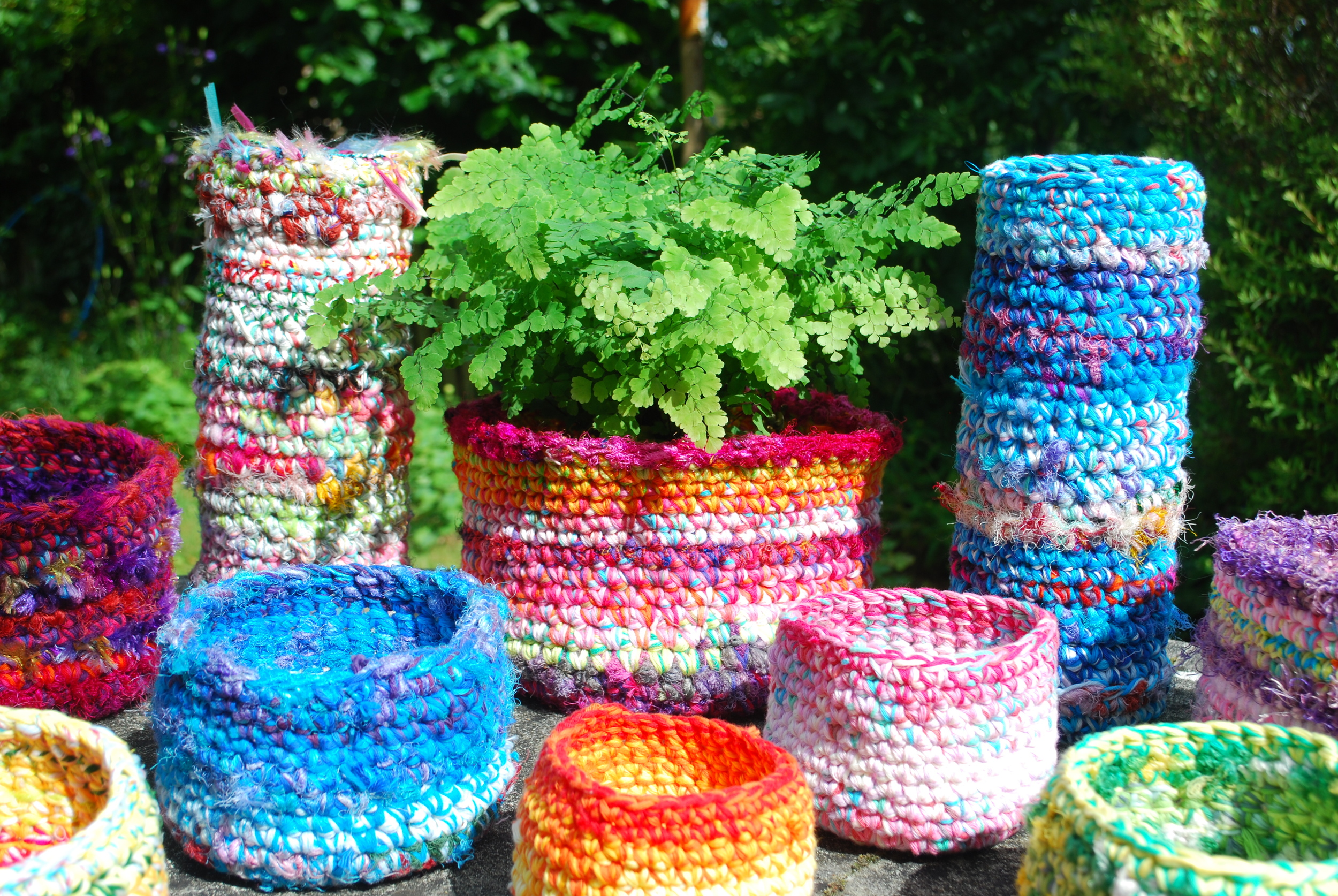 One pattern makes all these crochet baskets