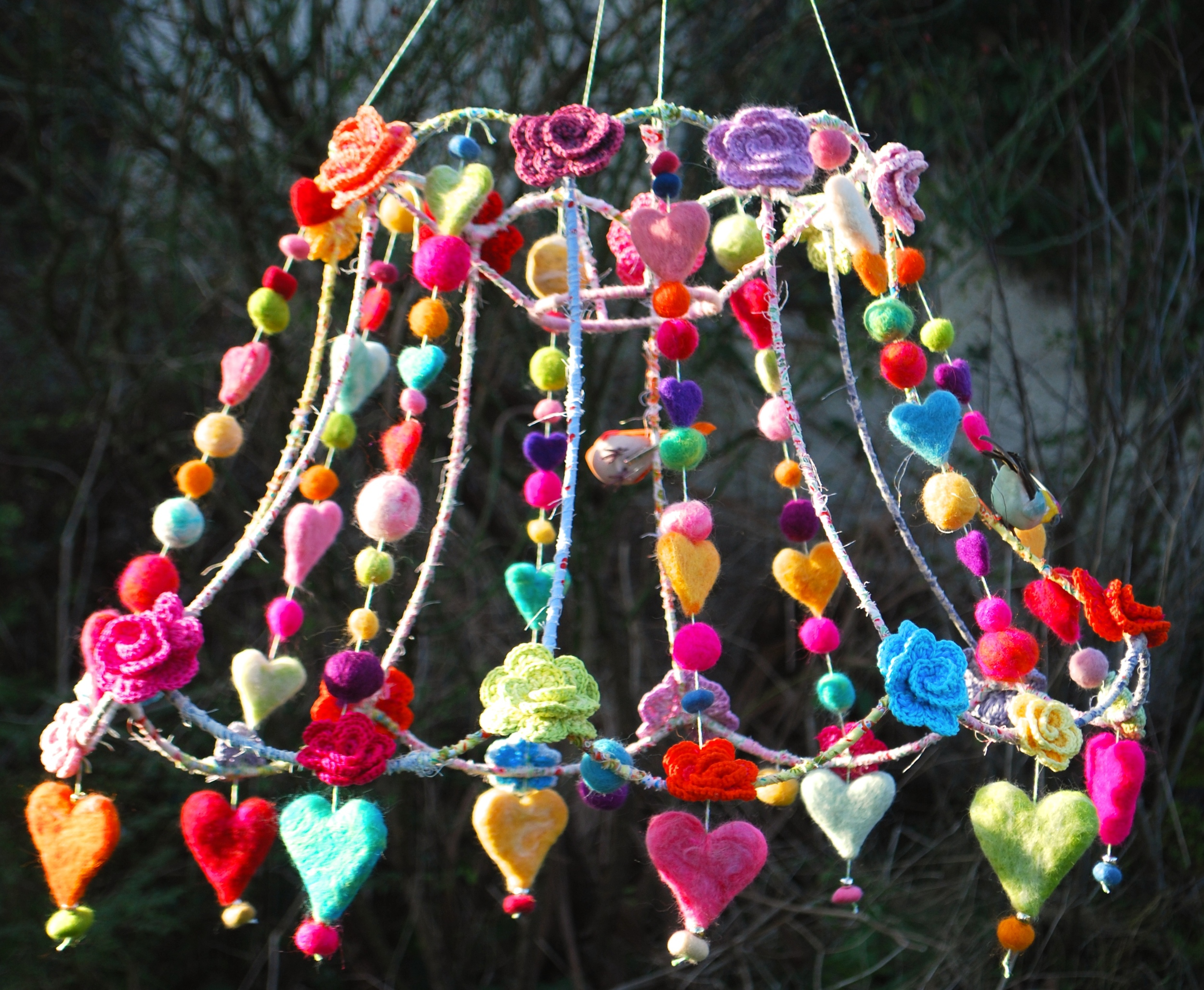 Hearts and flowers crochet lamp shade