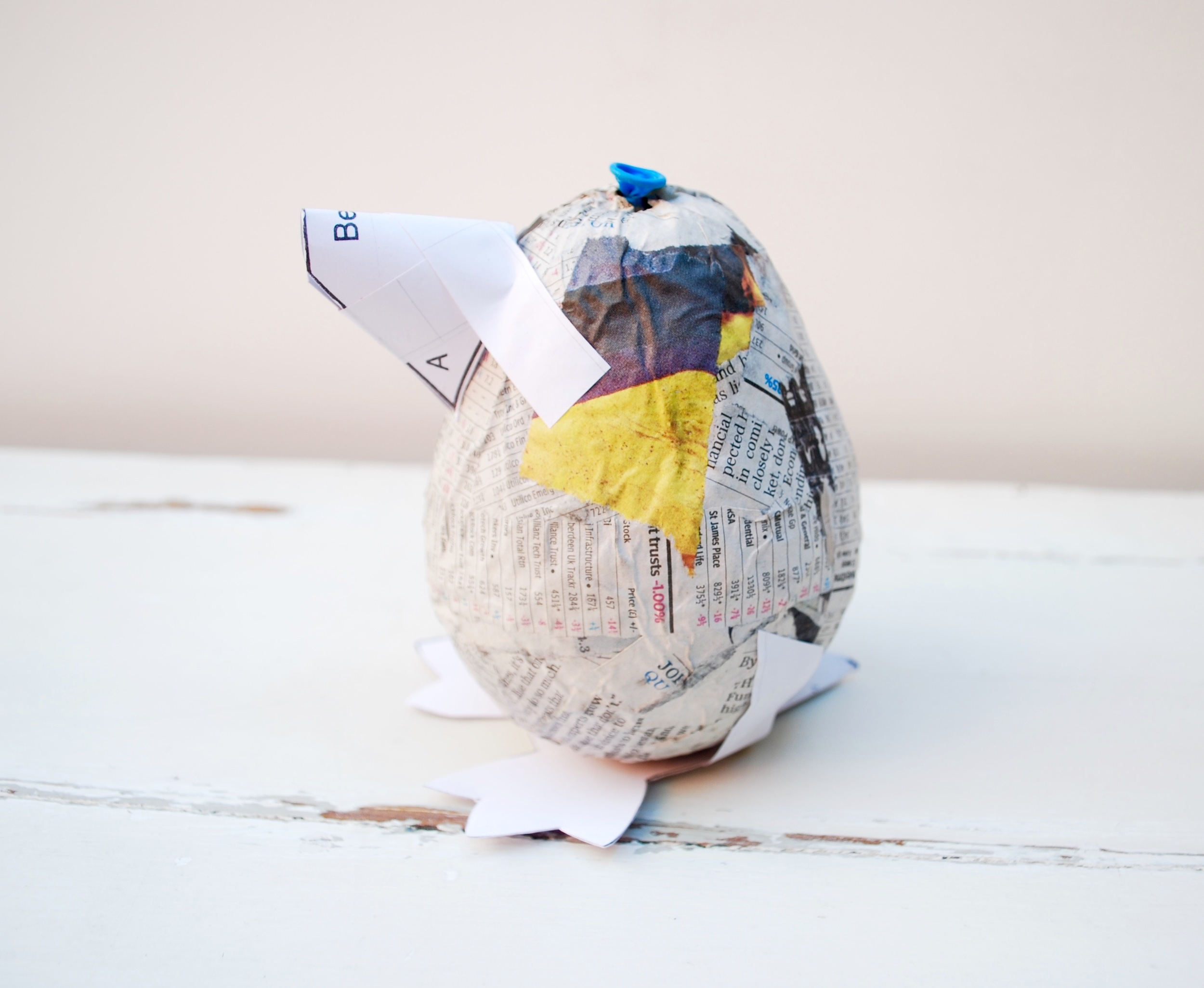 Penguin Paper Pet Tutorial fixing the beak onto the body