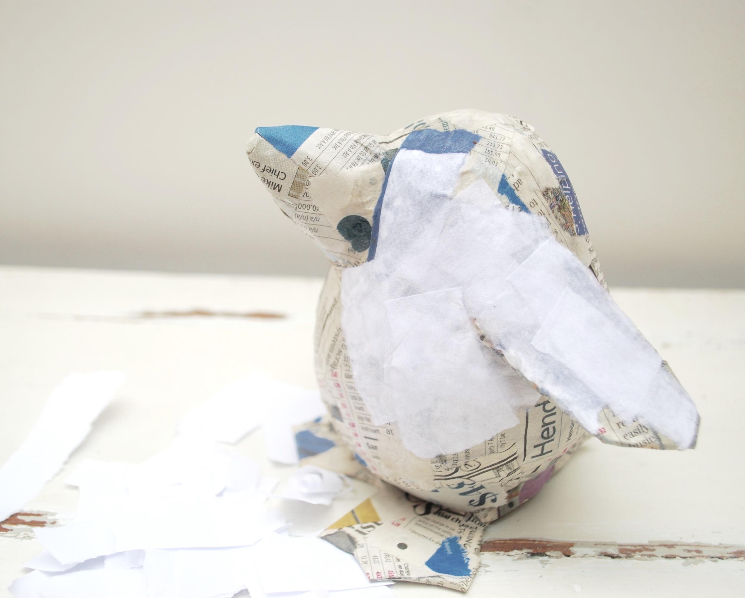 Paper pet tutorial - penguin - applying finishing paper