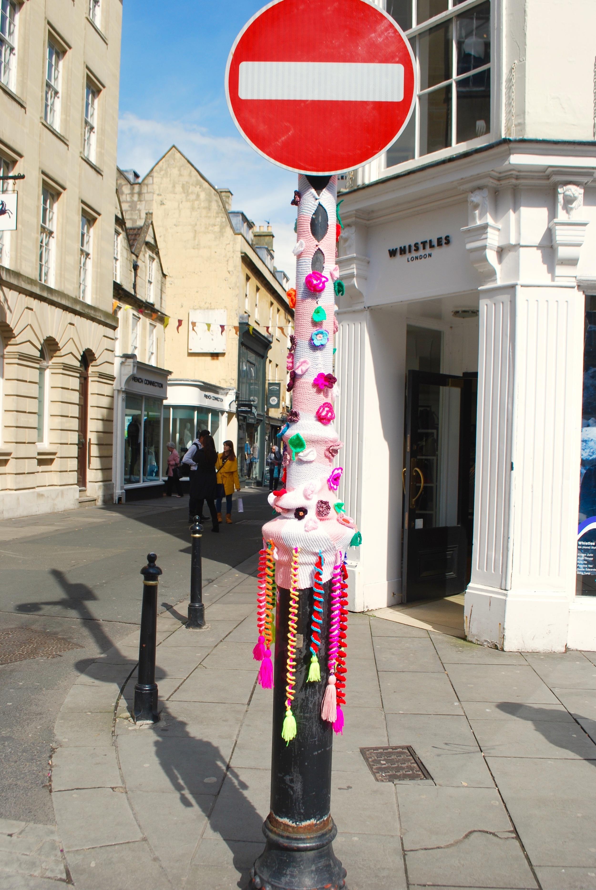Bath in Fashion 2016 yarn bomb No Entry