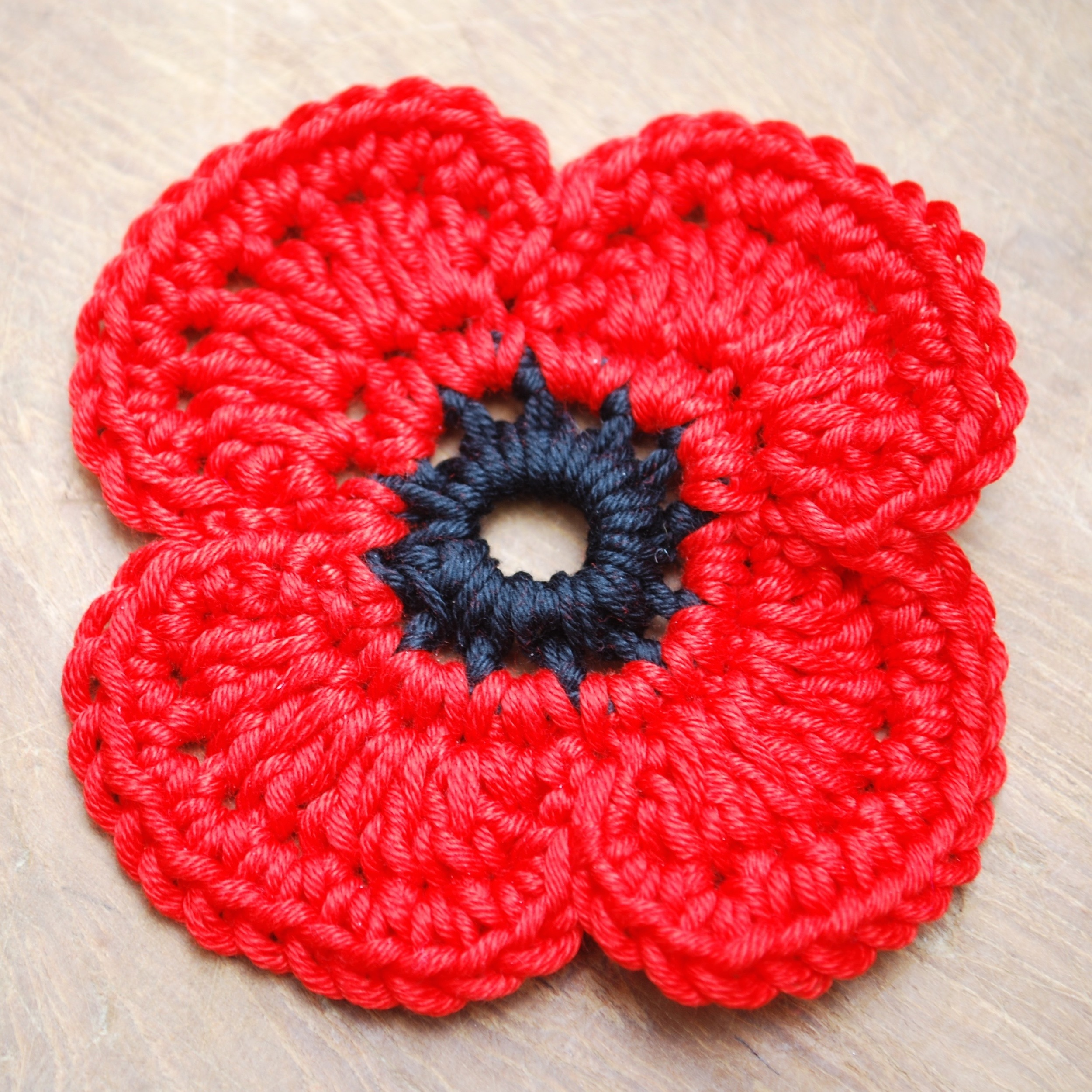 Crochet remembrance poppy