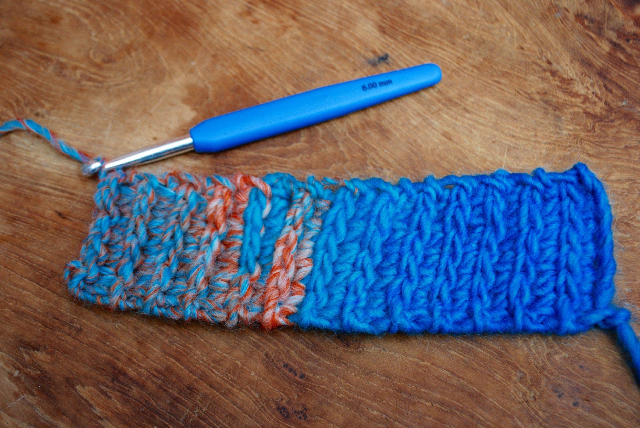 Easy Crochet Fingerless Mitten Gloves free pattern tutorial. completed crochet rib cuff
